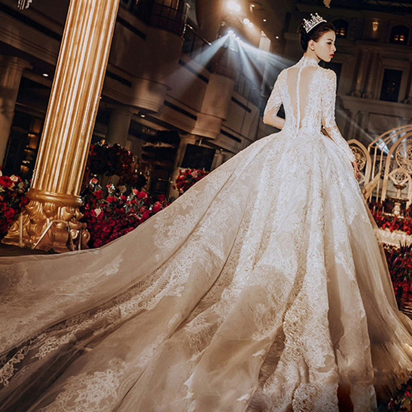 French Wedding Dresses Unique Long Sleeve French Wedding Dress 2018 New Drag Tailed Palace forest Bride Hepburn Style Wedding Dress Outlet Wedding Dresses Lace From Haianxiang