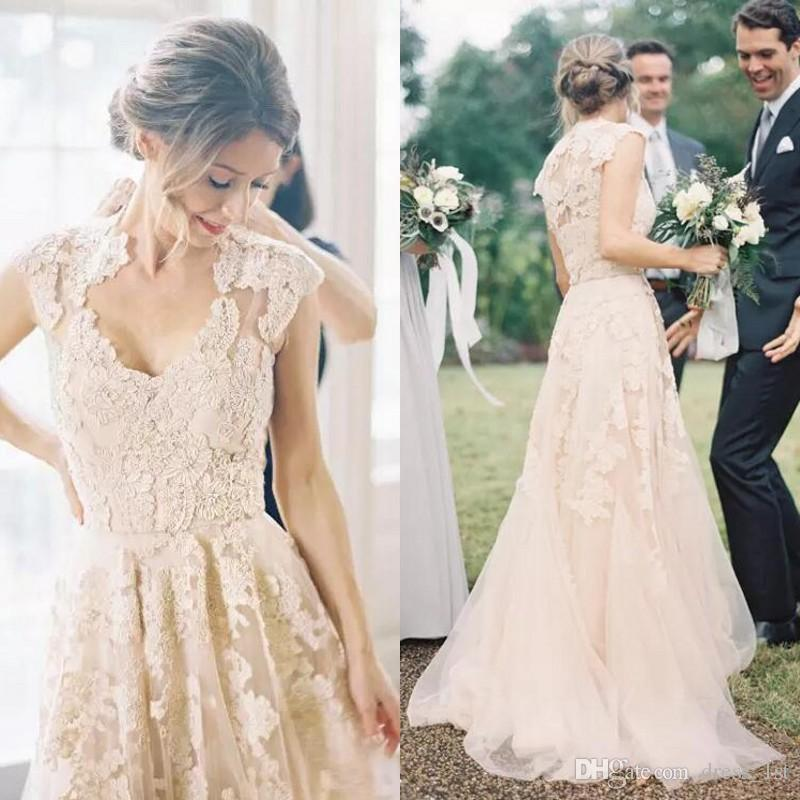 Garden Wedding Dresses Elegant Elegant Garden Country Wedding Dresses 2017 Champagne Tulle Lace Appliqued Capped Sleeve Reem Acra Bridal Gowns Custom Made
