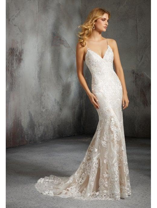 mori lee 8285 laura corset back detail wedding dress ivory rose p5600 medium