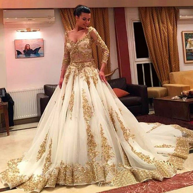 Gold Beaded Wedding Dress New Two Pieces Wedding Dresses Gold and Ivory Arabic Beads