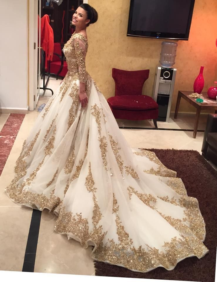 Gold Bridal Gown Luxury Gold Lace Applique Wedding Dresses Luxury Bridal Dresses