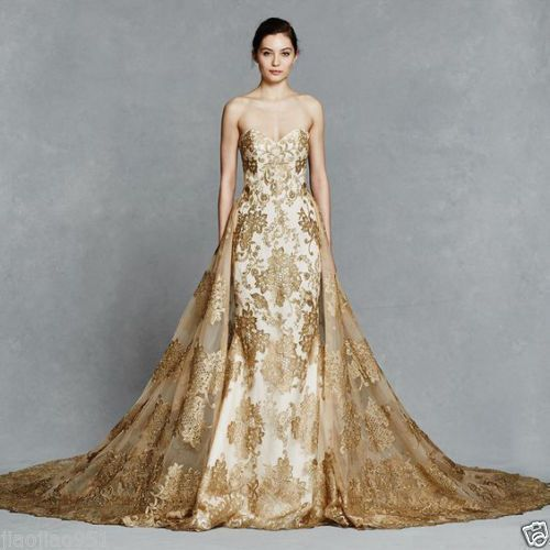 gold wedding gowns unique new a line wedding dress gold lace appliques bridal gown custom size