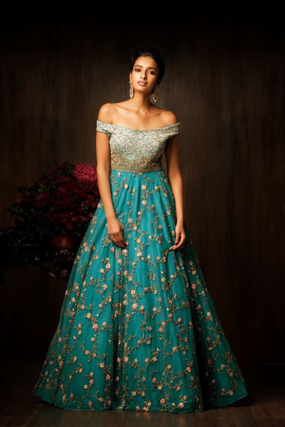 indian wedding reception gowns elegant a stunning pagoda blue gown by shyamal and bhumika with an off