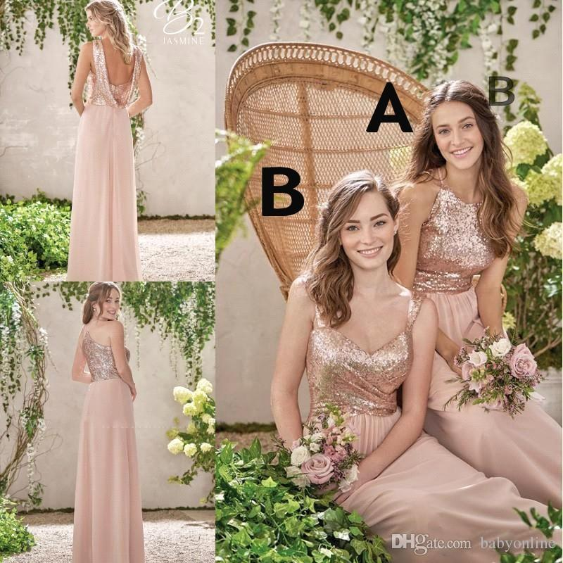 new rose gold bridesmaid dresses a line spaghetti