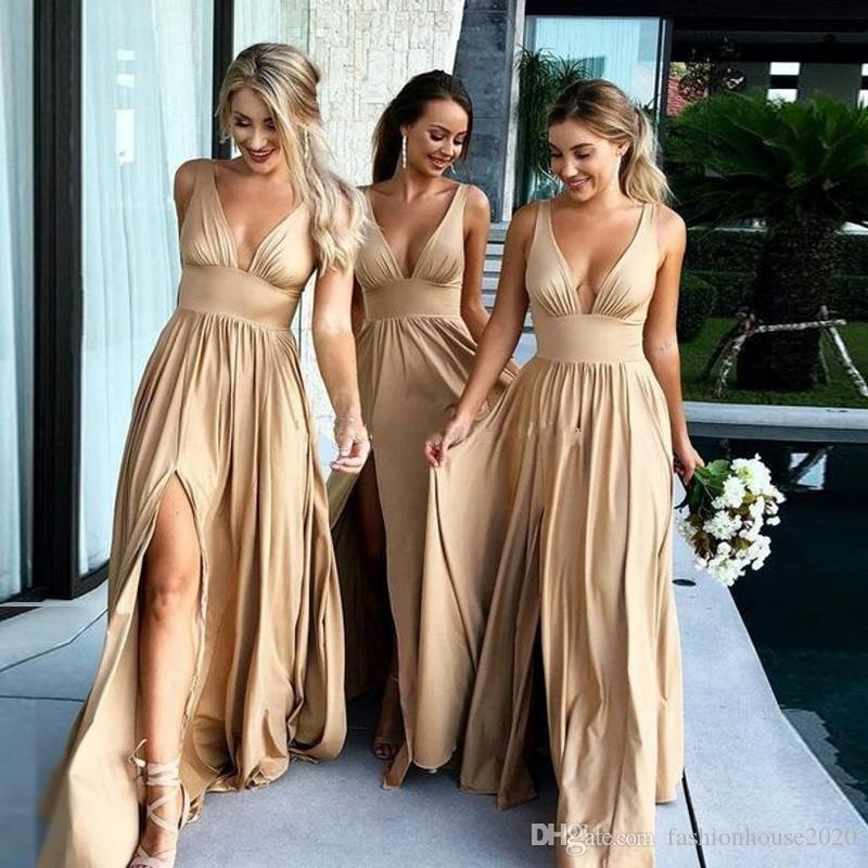 2018 gold a line bridesmaid dresses sleeveless