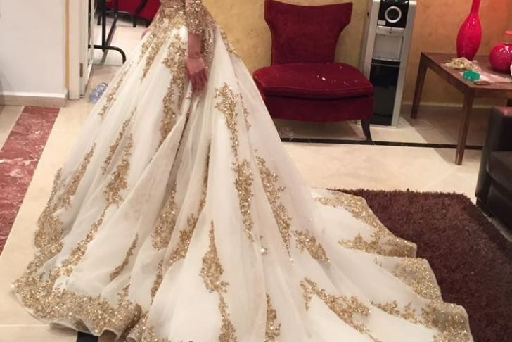 Gold Wedding Dresses with Sleeves Luxury Gold Lace Applique Wedding Dresses Luxury Bridal Dresses