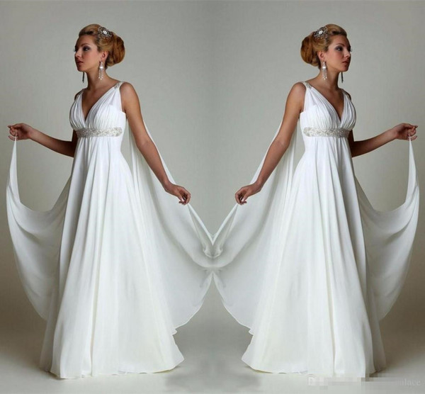 Greek Inspired Wedding Dresses Luxury Discount Simple Chiffon Empire Waist Beach Wedding Dresses Greek Modern V Neck Plus Size Bridal Gown Cheap Vestido Wedding Gowns Lace Bridal Gowns