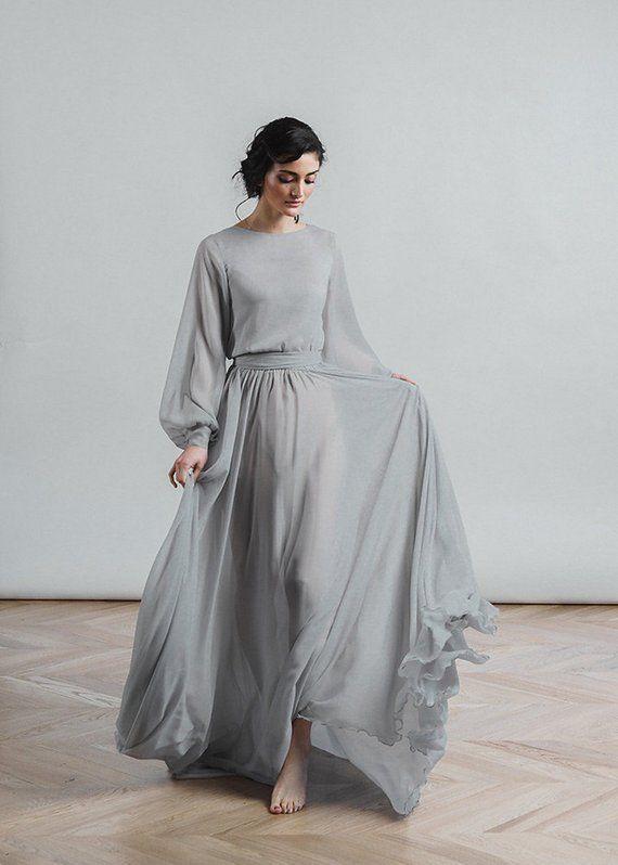 Grey Wedding Dresses Lovely Grey Wedding Dress Nirvana Boho Bridal Gown Chiffon Skirt