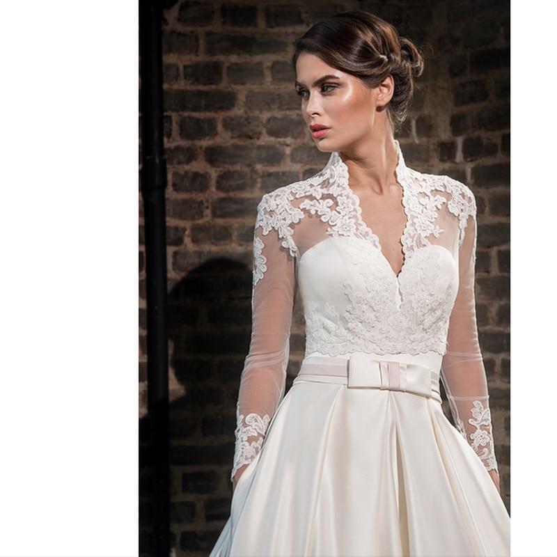 Vestiod De Noive 2017 V Neck Full With Jacket Wedding Dress Formal Dresses Wedding Gowns Robe