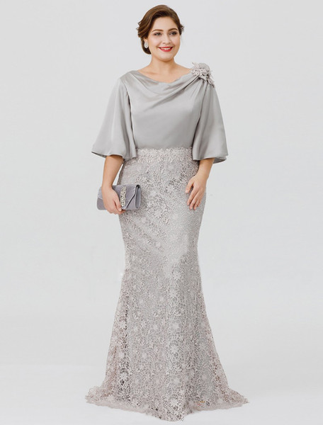 Guest Wedding Dresses 2015 Unique 2019 New Silver Elegant Mother the Bride Dresses Half Sleeve Lace Mermaid Wedding Guest Dress Plus Size formal evening Gowns Plum Mother the