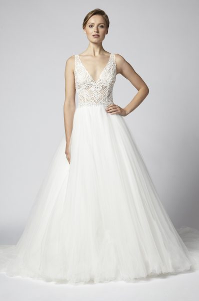 henry roth sleeveless v neck beaded bodice with tulle ball gown skirt wedding dress 398x600