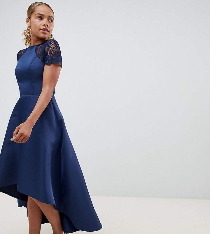 Chi Chi London Petite high low hem midi dress with lace sleeves
