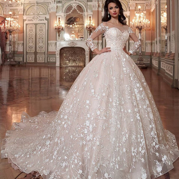 High End Dresses Elegant Discount Eslieb High End Custom Made Lace Illusion Wedding Dress 2019 Ball Gown Bridal Dresses Vestido De Noiva Wedding Gowns Bridal Stores Bride