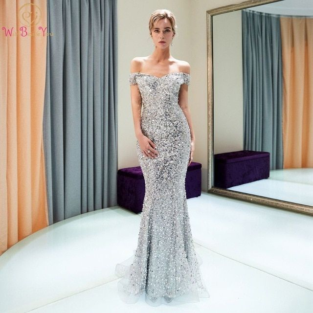 High End Dresses Luxury Silver evening Dresses Walk Beside You 2018 High End Beaded