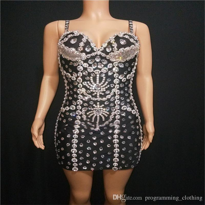 y47 singer stage dress female rhinestone