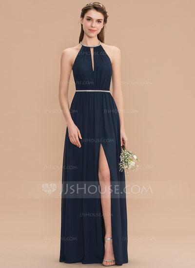 House Dresses Luxury Scoop Neck Floor Length Chiffon Bridesmaid Dress with Ruffle Beading Split Front