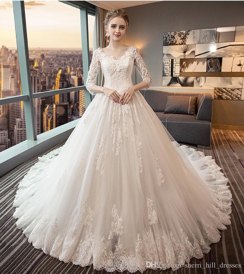 backless wedding dresses v collar long sleeves