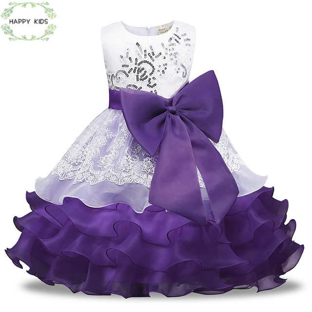 Doz437 3 8y Girls dress with floral paillette purple fluffy bridal wedding dress 2019 summer festive 640x640q70