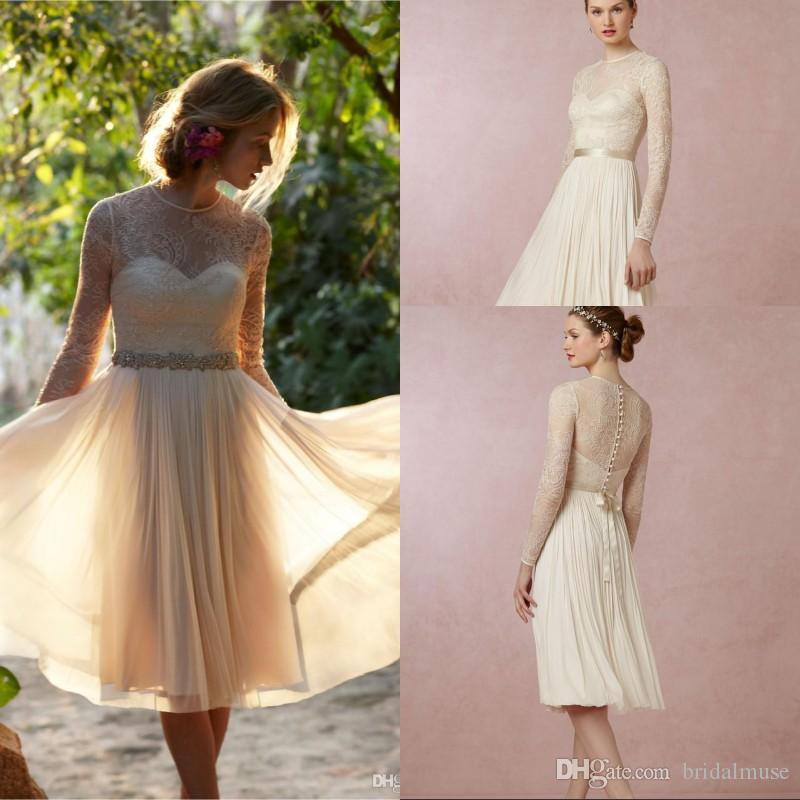 short beach knee length wedding dresses lace