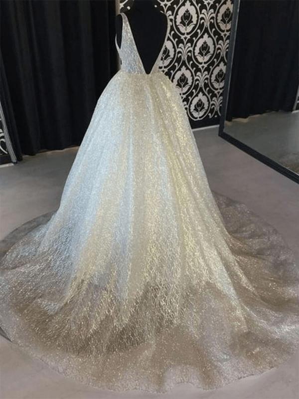 A Line Backless Beach Wedding Dress V Neck Sequins Ivory Wedding Gowns2 1200x1200