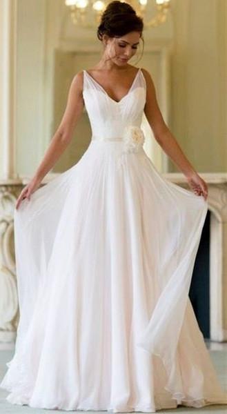 Ivory Beach Wedding Dresses Elegant Discount 2019 Boho Beach Wedding Dresses Pleats V Neck Floor Length A Line Sleeveless with Flower Sash Bridal Gowns White Ivory Vestido De Novia