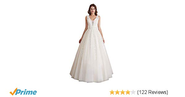 Ivory Color Wedding Dress Awesome Abaowedding Women S Wedding Dress for Bride Lace Applique evening Dress V Neck Straps Ball Gowns