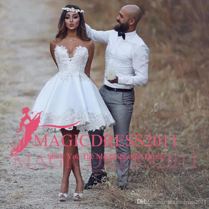 Ivory Short Wedding Dress Luxury 2019 Sweetheart Short Casual Beach Lace Wedding Dress New A Line Bridal Gowns Custom Size Handmade Appliques Best Selling Fashion Romantic