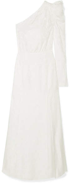 Les Rêveries e shoulder Ruched Silk jacquard Gown Ivory