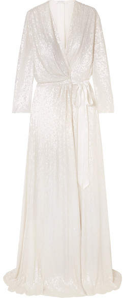 Jenny Packham Sophia Satin trimmed Sequined Silk chiffon Wrap Gown Ivory