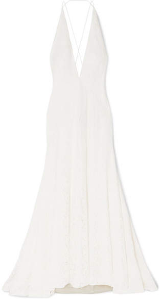 Michael Lo Sordo Alexandra Silk Guipure Lace Gown Ivory