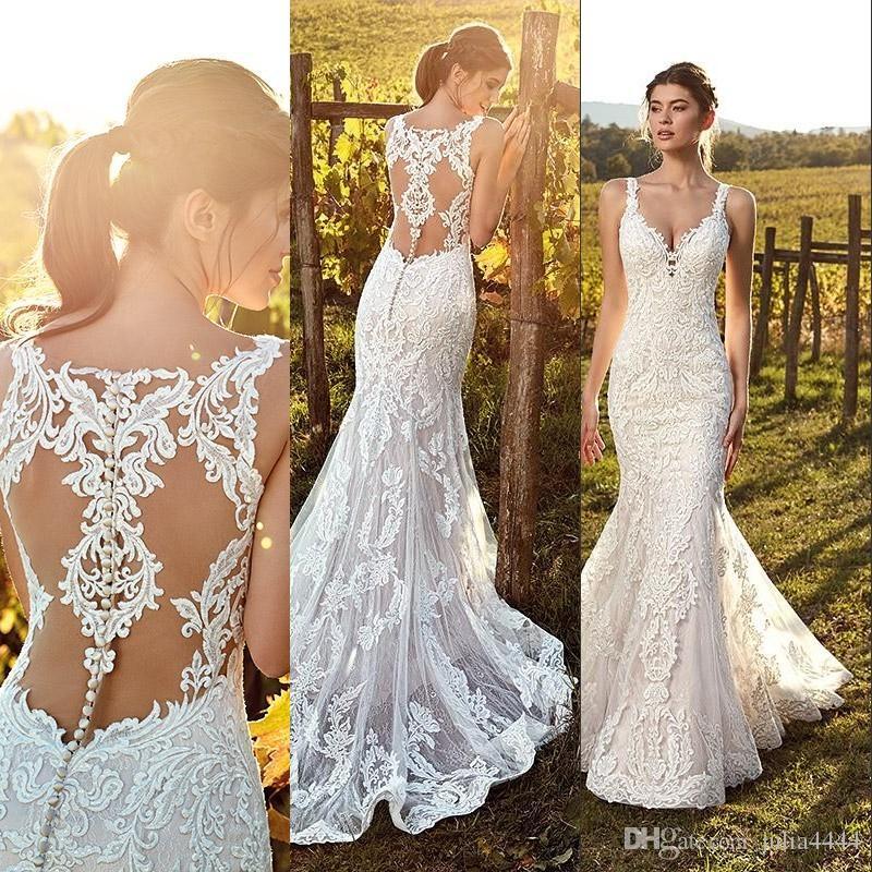 elegant ivory straps deep v neck lace mermaid