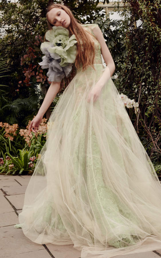 Vera Wang Sage Macrame Lace A Line Gown