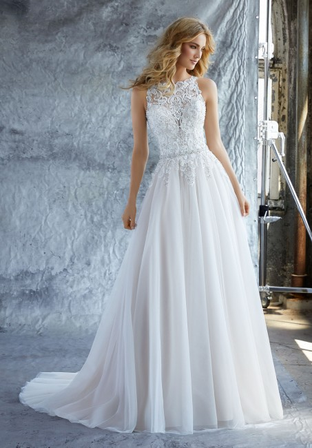mori lee 8213 katie jewel neck wedding dress with belt 01 286