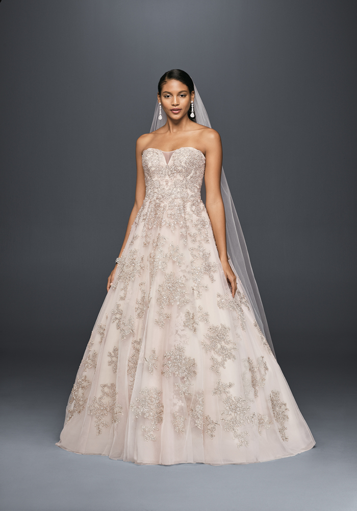 davidsbridal Oleg Cassini Collection exclusively for David's Bridal CWG767 BLUSH OLEG PROD9 006