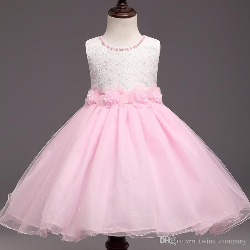 Kids Dress for Weddings Beautiful White&pink 2017 New Summer Flower Kids Party Dresses for Weddings Children S Princess Girl evening Prom toddler Girl Clothes
