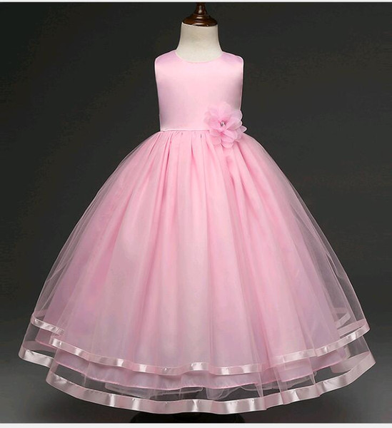 Kids Dress for Weddings Elegant 2019 New Wedding Dresses for Kids Small Girls Puffy solid Color Lace Mesh Beaded Flower Girl Prom Dress Fit 4 12 Years Old Child From Zzj8 $15 58