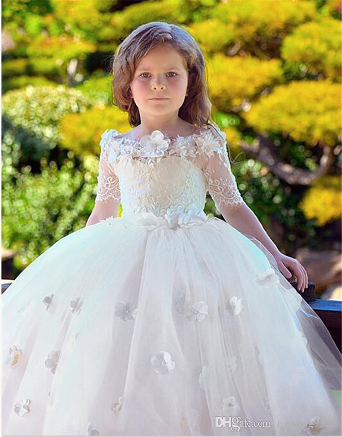 Kids Dress for Weddings Fresh Elegant Lovely Ankle Length Flower Girls Dresses for Wedding Lace Holy Munion A Line Pageant Dresses for Little Girls