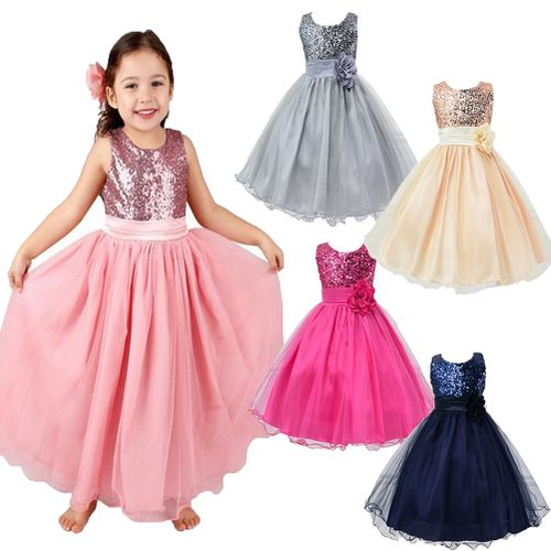 Kids Dress for Weddings Lovely Flower Girl Angel Ring Girl Kid Princess Wedding Bridesmaid Party formal Sequin Ball Gown Dress for Little Girl Airyclub