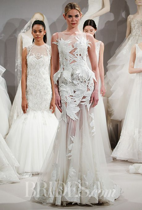 beautiful wedding dresses inspiration the leaf appliques on this sheer tony ward couture for kleinfeldbridal wedding d
