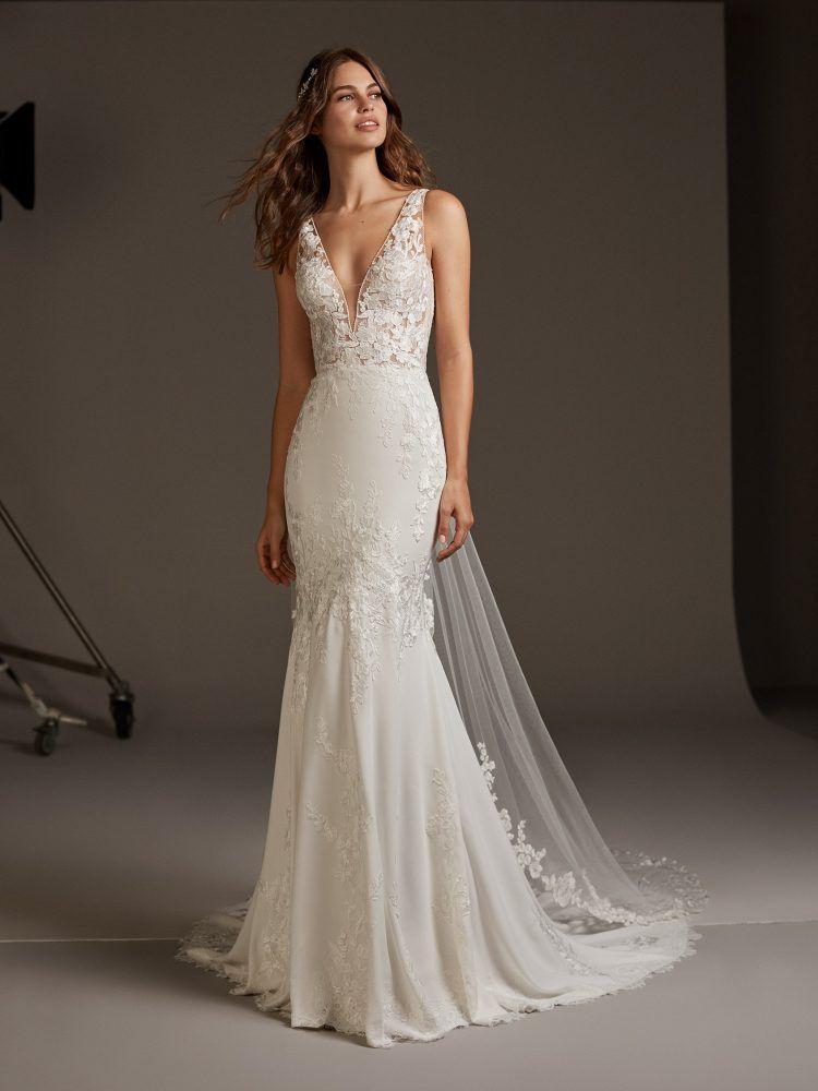 Kleinfield Bridal New V Neck Crepe Mermaid Wedding Dress