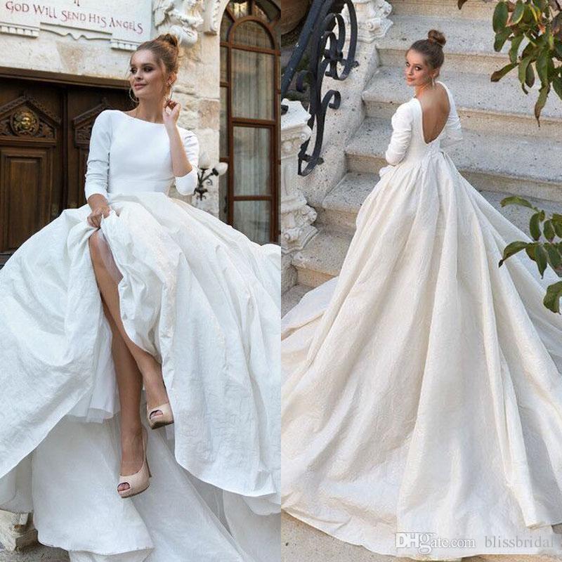 ball wedding dresses fresh 2018 new simple satin ball gown wedding dresses 34 long sleeves