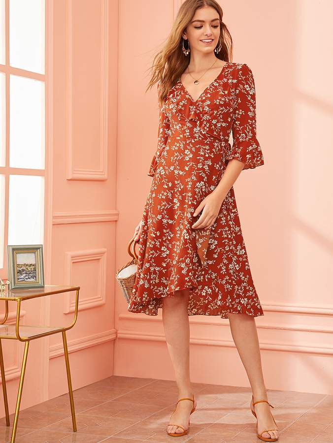 Shein Floral Ruffle Trim Asymmetrical Hem Wrap Knotted Dress