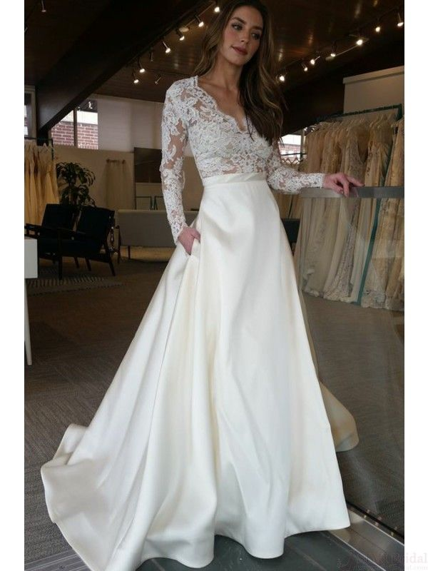 Lace and Satin Wedding Dresses Awesome A Line V Neck Long Sleeves Satin Wedding Dresses with Lace