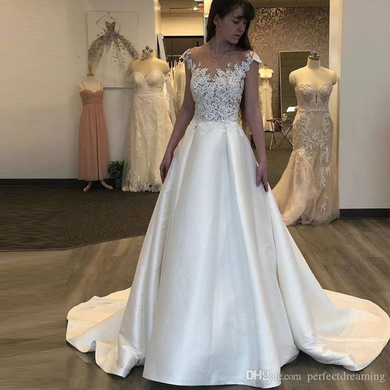 western country a line wedding dresses illusion