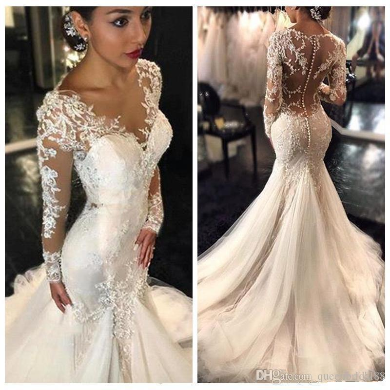 Lace Appliques Wedding Dresses Awesome Chic Lace Applique Long Sleeves Wedding Gowns 2019 Y buttons Back Wedding Dresses Mermaid Tulle Bridal Dress China