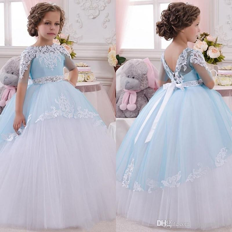 baby wedding dress 2018 new baby princess flower girl dress lace appliques wedding prom excellent