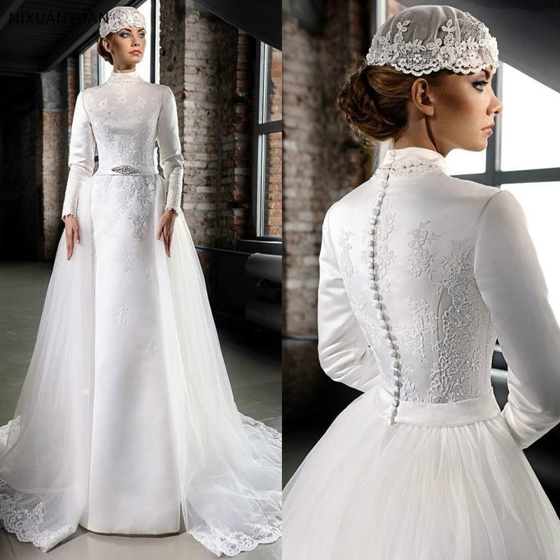 2019 New Muslim Wedding Dresses Long Sleeve High Neck Lace Appliques Satin Bride Gowns Mariage Vestido