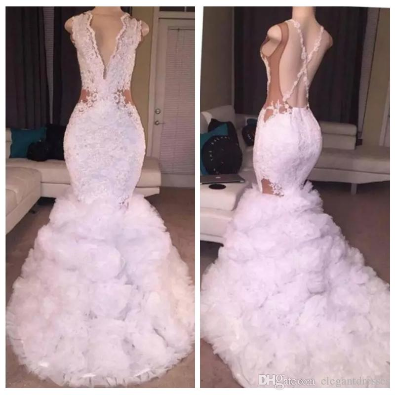 2019 v neck lace appliques wedding dresses