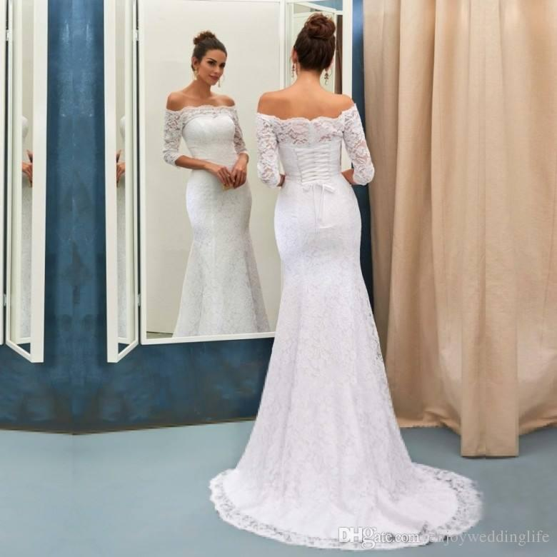 Lace Back Wedding Dresses Luxury Elegant Half Long Sleeves F the Shoulder Full Lace Mermaid Wedding Dresses Corset Back Bridal Gowns Long Sweep Train Wedding Gowns