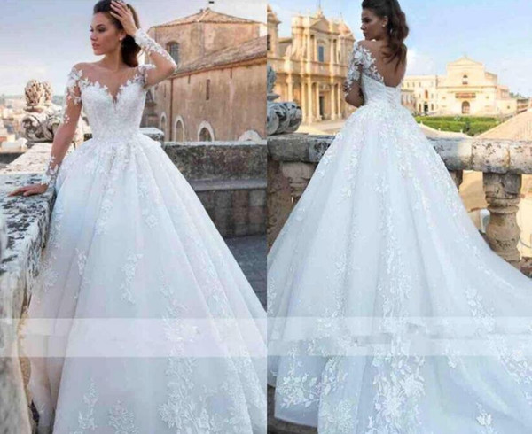 Lace Bodice Wedding Dress Luxury Discount Romantic Elegant Ivory Full Lace Wedding Dresses 2019 Sheer Neck Long Sleeves A Line Tulle Wedding Bridal Gowns Corset Back Wedding Gowns